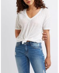 ba48ac95e Charlotte Russe - Space-dye V-neck Knotted Front Tee - Lyst