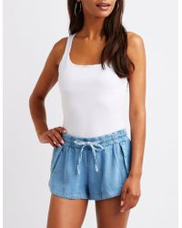 Charlotte Russe - Chambray Dolphin Shorts - Lyst