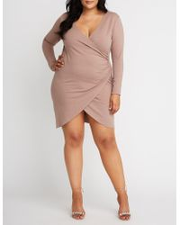 aa9eacdf89f Lyst - Charlotte Russe Plus Size Shimmer Asymmetrical Bodycon Dress ...