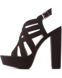 68f9c67452a Lyst - Charlotte Russe Faux Nubuck Cut Out Platform Sandals in Black ...