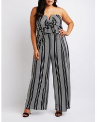698f2e23fed Charlotte Russe - Plus Size Striped Strapless Notched Jumpsuit - Lyst