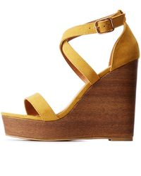 Charlotte Russe - Crisscross Wood Wedge Sandals - Lyst