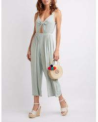 Charlotte Russe - Knotted Cut-out Jumpsuit - Lyst