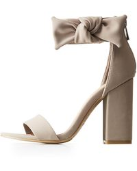 df6a71b5baa Lyst - Charlotte Russe Bamboo Bow Two-piece Platform Sandals in Brown