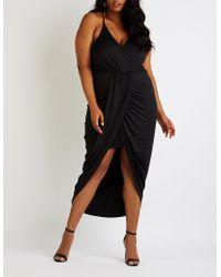 eaa9f659237 Lyst - Charlotte Russe Plus Size Velvet Surplice Maxi Dress in Black