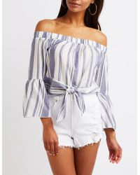 ae469b20357 Lyst - Charlotte Russe Striped Off The Shoulder Top in Yellow