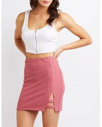 Charlotte Russe - Caged A-line Mini Skirt - Lyst