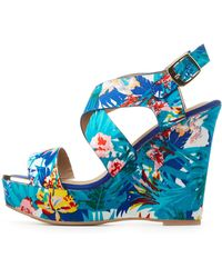 Charlotte Russe - Qupid Printed Wedge Sandals - Lyst