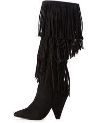 7d1e886f4368 Charlotte Russe - Faux Suede Fringe Boots - Lyst