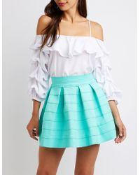 7341a54919 Lyst - Charlotte Russe Pleated Scuba Skater Skirt in Gray