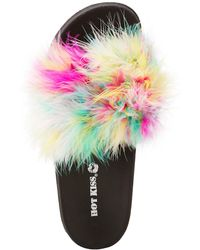 Charlotte Russe - Faux Feather Slide Sandals - Lyst