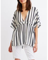 Charlotte Russe - Striped Tie-waist Tunic Top - Lyst