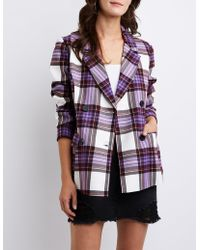 Charlotte Russe - Plaid Double Breasted Blazer - Lyst