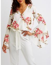 Charlotte Russe - Floral Surplice Cascade Sleeve Top - Lyst