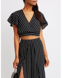 79338c10106 Lyst - Charlotte Russe Striped Zip Up Top