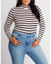 Charlotte Russe - Plus Size Striped Bodysuit - Lyst