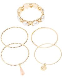 Charlotte Russe - Faux Pearls & Textured Metal Bangle - Lyst