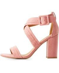 Charlotte Russe - Qupid Crisscross Block Heel Sandals - Lyst