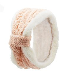 Charlotte Russe - Shearling Trim Cable Knit Headband - Lyst
