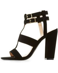 Charlotte Russe - Caged Block Heel Sandals - Lyst