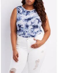 961388ba56761 Charlotte Russe - Plus Size Tie Dye Muscle Tank Bodysuit - Lyst