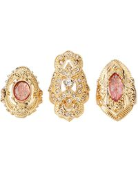Charlotte Russe - Crystal Cocktail Rings - 3 Pack - Lyst