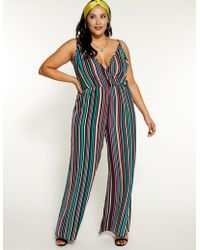 a22d438db61 Lyst - Charlotte Russe Plus Size Striped Culotte Jumpsuit in Natural