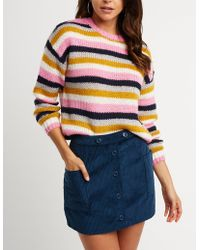 Charlotte Russe - Striped Pullover Sweater - Lyst