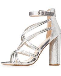 b6a006e01588 Lyst - Charlotte Russe Qupid Block Heel Platform Sandals in Black