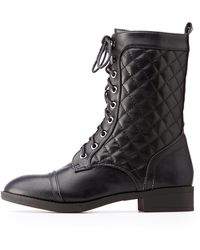 Charlotte Russe - Quilted Combat Boots - Lyst