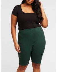 Charlotte Russe - Plus Size Ribbed Bike Shorts - Lyst