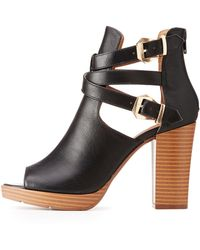f968d73ce810 Lyst - Charlotte Russe Bamboo Wrapped Tassel Ankle Booties in Black