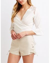 Charlotte Russe - Lace Up Detail Shorts - Lyst