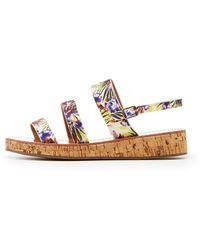Charlotte Russe - Qupid Three-piece Cork Sandals - Lyst