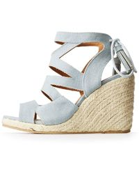 3b868cbcf666 Charlotte Russe - Qupid Crisscross Espadrille Wedge Sandals - Lyst