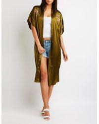Charlotte Russe - Plus Size Floral Satin Kimono - Lyst