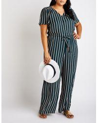 c3492265de9 Lyst - Charlotte Russe Plus Size Striped Wrap Jumpsuit in Black