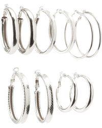 Charlotte Russe - Textured Hoop Earrings - 6pack - Lyst