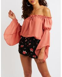 dccd9257519 Lyst - Charlotte Russe Off The Shoulder Blouse in Blue