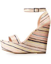 Charlotte Russe - Bamboo Striped Platform Wedges Sandals - Lyst
