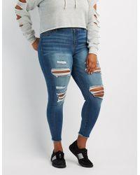 e7ef67918a7 Charlotte Russe - Plus Size Refuge Skin Tight Legging Destroyed Jeans - Lyst
