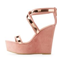 Charlotte Russe - Bamboo Metallic Strap Wedge Sandals - Lyst