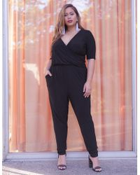 440ca0927ab Lyst - Charlotte Russe Striped Off The Shoulder Jumpsuit in Black