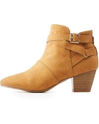 98b0eb66a929 Lyst - Charlotte Russe Qupid Western Sock Booties in Brown