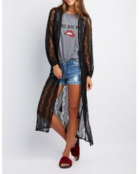 Charlotte Russe - Lace Tie-front Duster - Lyst