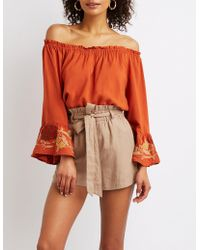 7a88170e650c7d Charlotte Russe - Off-the-shoulder Floral Bell Sleeve Top - Lyst