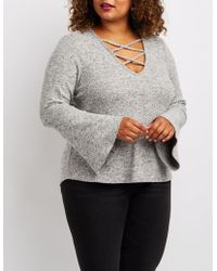 Charlotte Russe - Plus Size Caged Bell Sleeve Hacci Sweater - Lyst