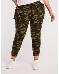 c9d663b2cc8 Lyst - Charlotte Russe Plus Size Striped-side Silky Jogger Pants in ...
