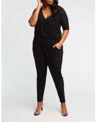 63e0adec05a Lyst - Charlotte Russe Plus Size Striped V-neck Jumpsuit in Blue