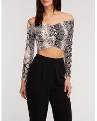 ae27b10225601 Lyst - Charlotte Russe Plus Size Snakeskin Ruched Crop Top in Gray
